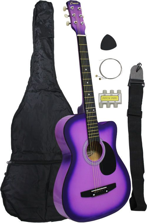 Beginner 38 Inch Acoustic Cutaway Guitar With Bag And Strap Purple