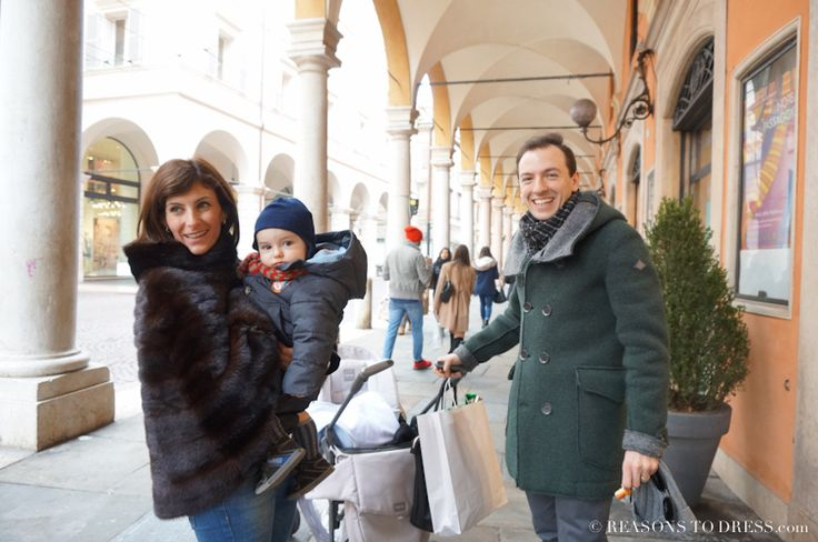 Northern Italian Street Style - Real fur, a duffle coat and a stylish kid while out for an afternoon stroll in Italy.