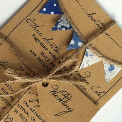 Bunting Wedding Invitation handmade bunting in blue via To Have and To Hold.