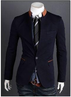 Mens style : Contrasting Collar Blazer