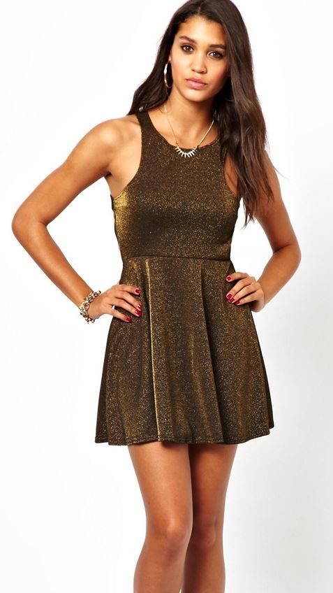 Oh My Love Skater Dress In Metallic Mix Fabric $26.32