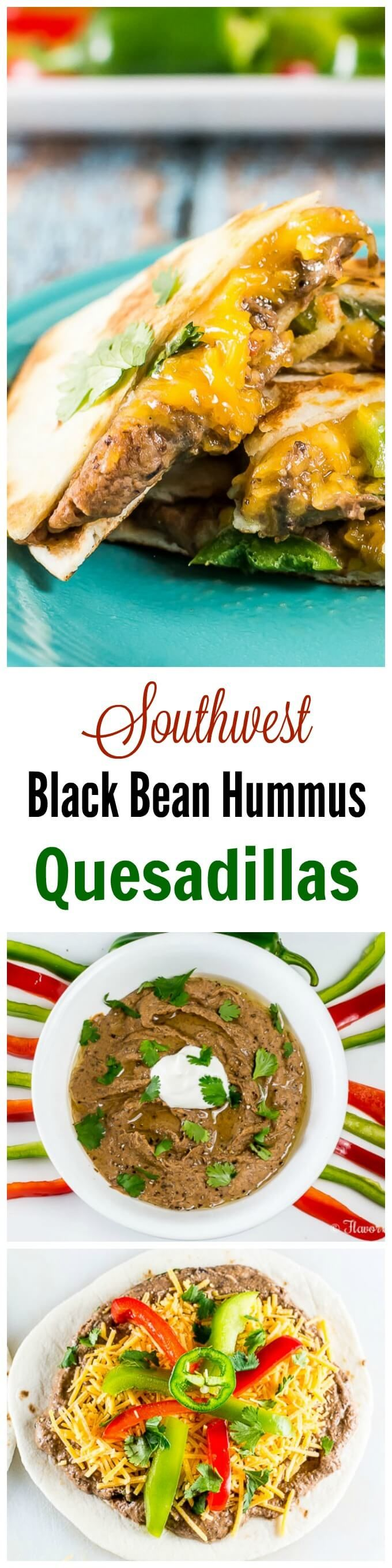 These spicy, cheesy Southwest Black Bean Hummus Quesadillas start with the easy 2-ingredient Southwest Black Bean Hummus and come together in minutes for a Mediterranean twist on a favorite Mexican appetizer. #ad #HummusMadeEasy   ~ http://FlavorMosaic.com