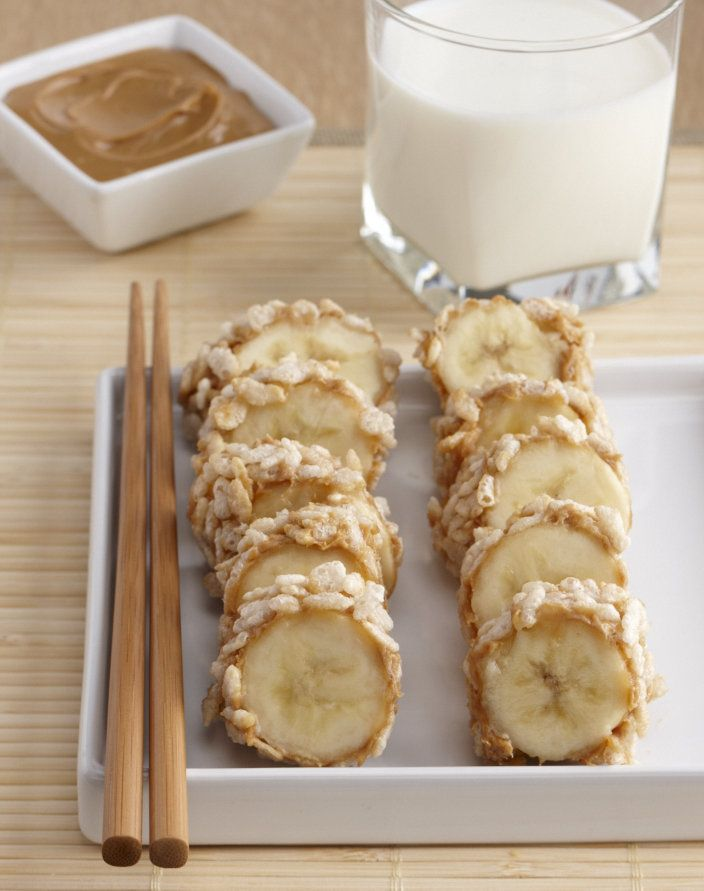 Breakfast Sushi - Spread peanut butter over the outside of the banana, and then roll in cereal until coated. Cut into thick slices and serve with a glass of milk.