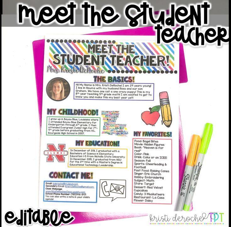 Meet The Student Teacher Newsletter Template Editable Bright