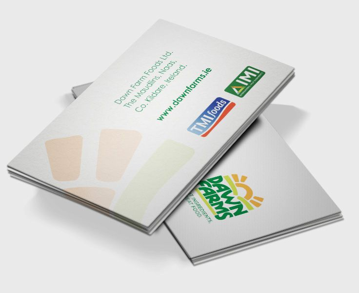Business cards designed for Dawn Farm Foods. www.akgraphics.ie