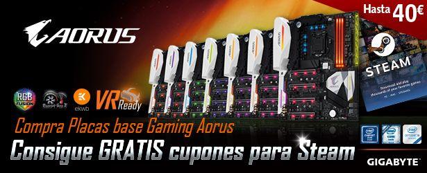 ¡Promoción de placas base GIGABYTE AORUS con hasta 40€ de regalo en STEAM!