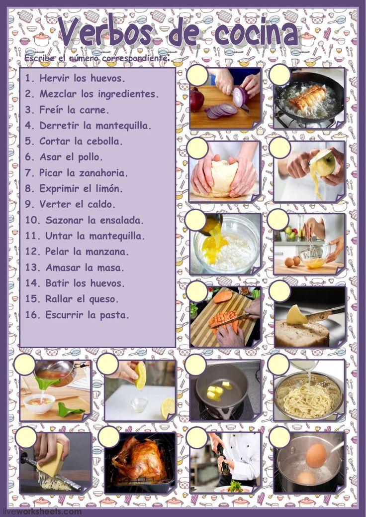 Verbos de cocina Vocabulario de cocina worksheet