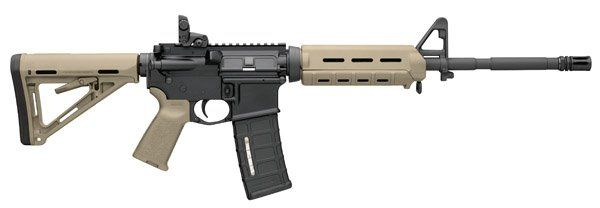 MOE™ SERIES FEATURES Magpul® MOE™ Hand Guard, accepts rail sections (carbine, mid-length or rifle length) Magpul® MBUS rear flip sight Magpul® MOE™ pistol grip, accepts MI