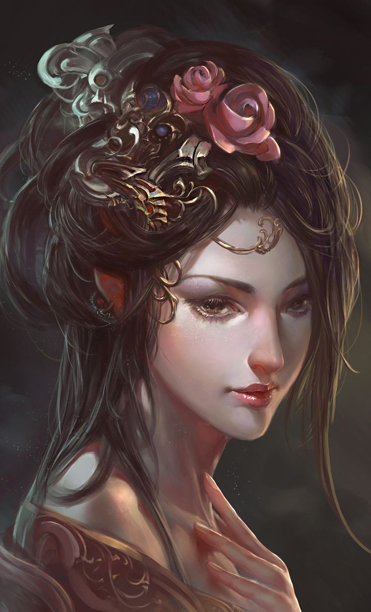 Chinese ancient beauty Picture  (2d, fantasy, ancient, elf, girl, woman, portrait, flowers)
