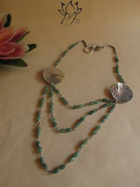 Lotus Leaf aluminium necklace with avventurina and  by Padma Jewels