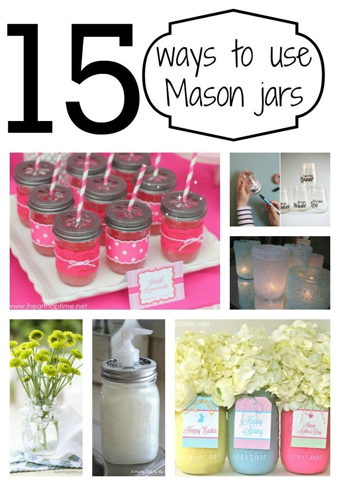 15 Ways to Use Mason Jars (or other jars) -great ideas! Daily update on my site: myfavoritediy.net