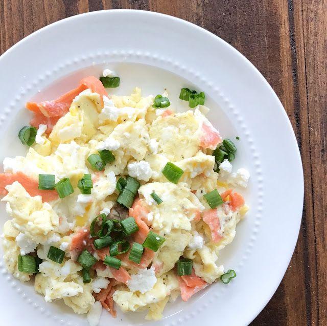 scrambled eggs w/ smoked salmon & goat cheese