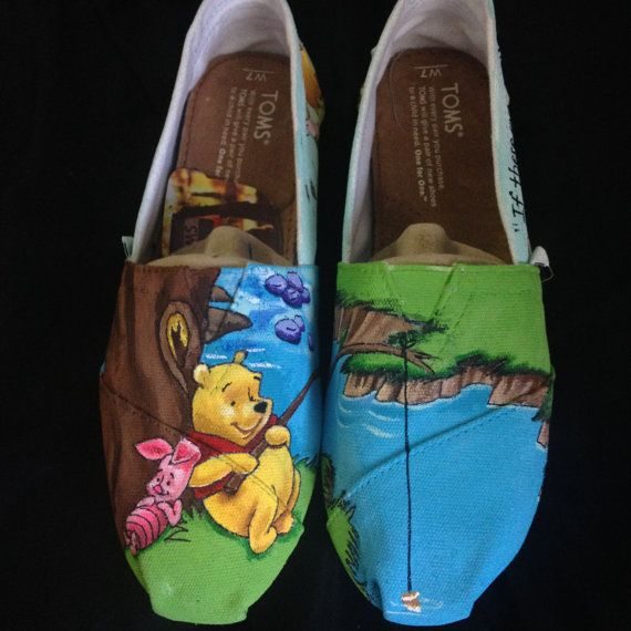 Hand Painted Winnie The Pooh TOMS by DrawingsByBOBA on Etsy, $120.00
