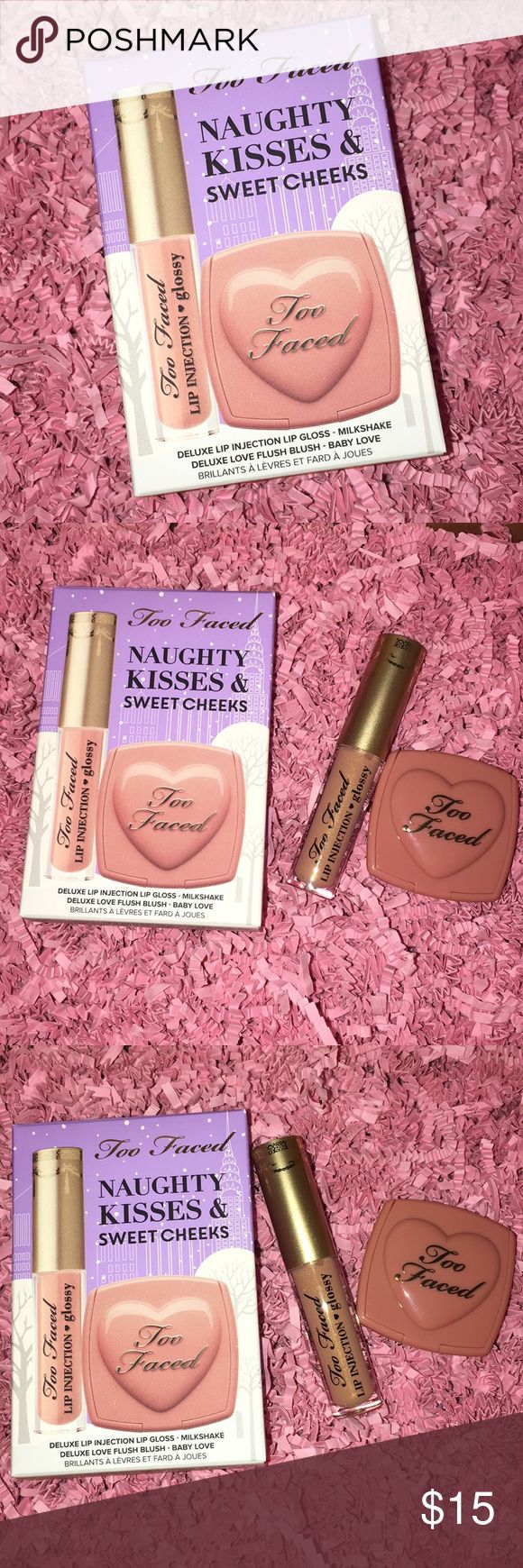 TooFaced Lipgloss & Blush Melted Kisses & Sweet Cheeks  ▫️Lip Injection Power Plumping Lip Gloss - milkshake - Deluxe Size ▫️Love Flush long lasting 16Hour Blush - baby love  - Deluxe Size   Brand New. Never Used. Never Swatch  No Trade. No Hold. No Offer. Price Firm Too Faced Makeup Lip Balm & Gloss