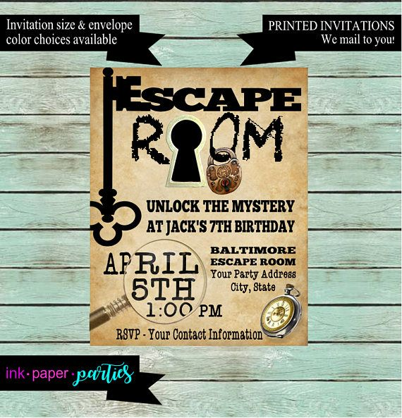 Escape room mystery puzzle birthday party invitations for Escape room party