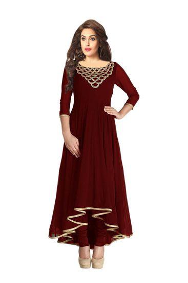 Fabboom Fashionable Designer Full Sleeve Brown Kurti - FABBOOM Kurtas & kurtis for women | buy women kurtas and kurtis online in indium