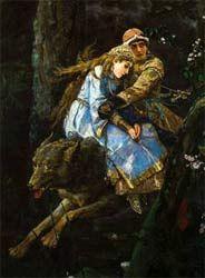 Ivan il principe e il lupo grigio, un dipinto di Vasnetsov