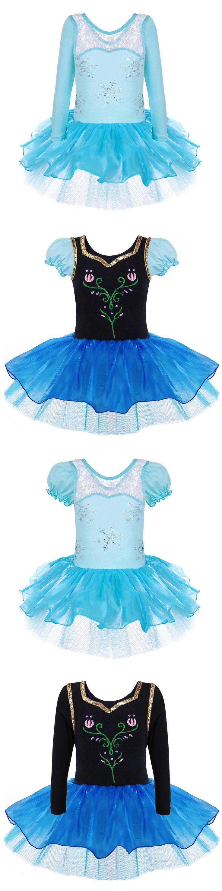 Anna Princess Girls Elsa Snowflake Ballet Dress Leotard Short/Long Sleeve Dancewear for 2-8Y Ballet Tutu Party Dress Dance Dress
