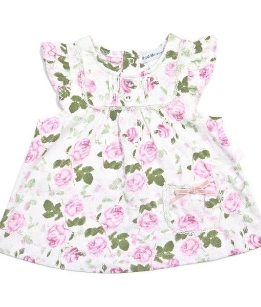 Pastel Pink Rose Knitted Fabric Design Dress.  Available in sizes 0-3months, 3-6months & 6-12months.