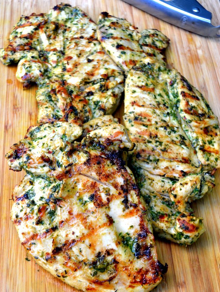 Grilled chicken with cilantro chimichurri sauce