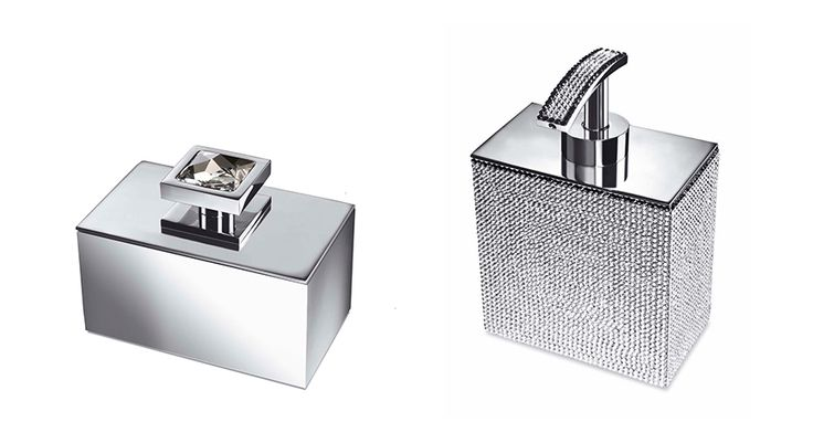 unique designer bathroom accessories with Swarovski Crystals