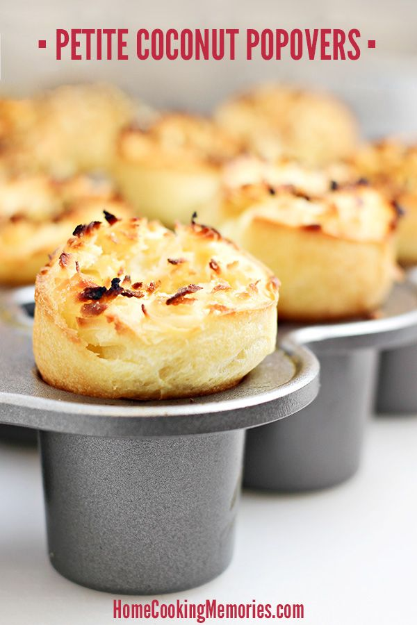 "Petite Coconut Popovers Recipe - light and airy ""muffins"" with coconut that want to POP into your next breakfast or brunch! Delicious when served hot out of the oven with butter, orange marmalade, or your choice of spread."