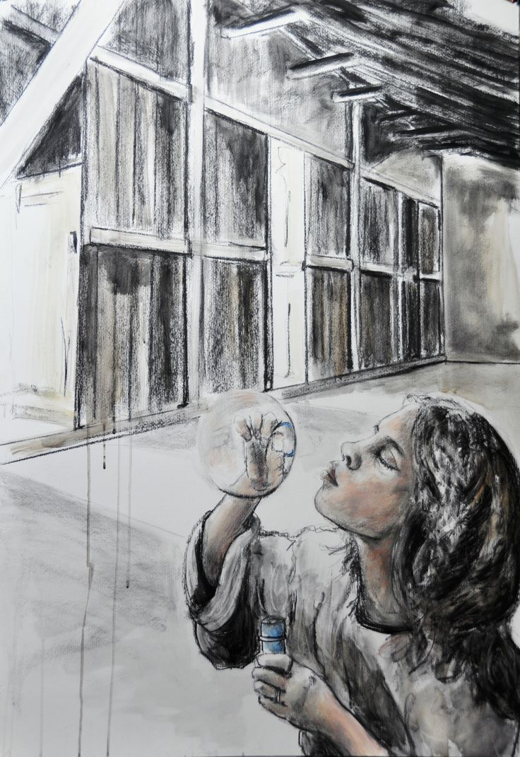 """""""She lives in a bubble…"""" Técnica mista sobre papel 100x70 cm"""