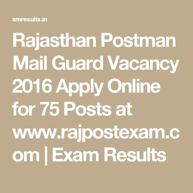Rajasthan Postman Mail Guard Vacancy 2016 Apply Online for 75 Posts at www.rajpostexam.com | Exam Results