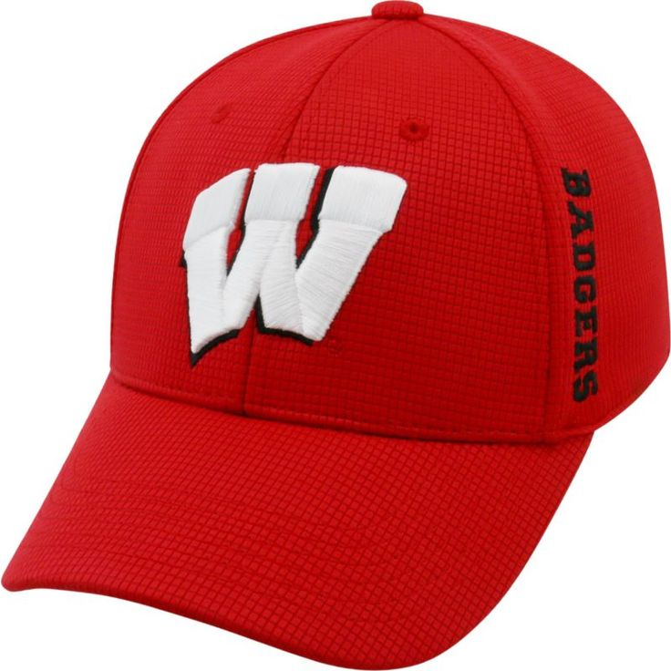 Top of the World Men's Wisconsin Badgers Red Booster Plus 1Fit Flex Hat, Team