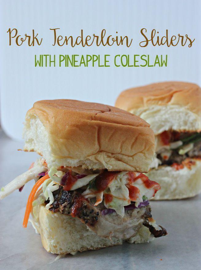 Marinated Pork Tenderloin Sliders with Pineapple Coleslaw