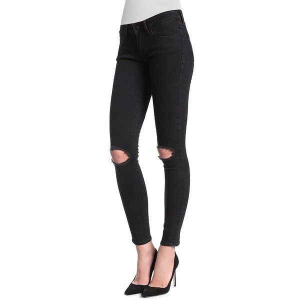Mavi Adriana Super Skinny Ripped Jeans ($30) ❤ liked on Polyvore featuring jeans, black, skinny jeans, mavi skinny jeans, mavi jeans, destroyed skinny jeans and super ripped skinny jeans