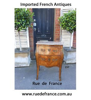 ANTIQUE FRENCH MARQUETRY - MARBLE TOP CHEST OF DRAWERS