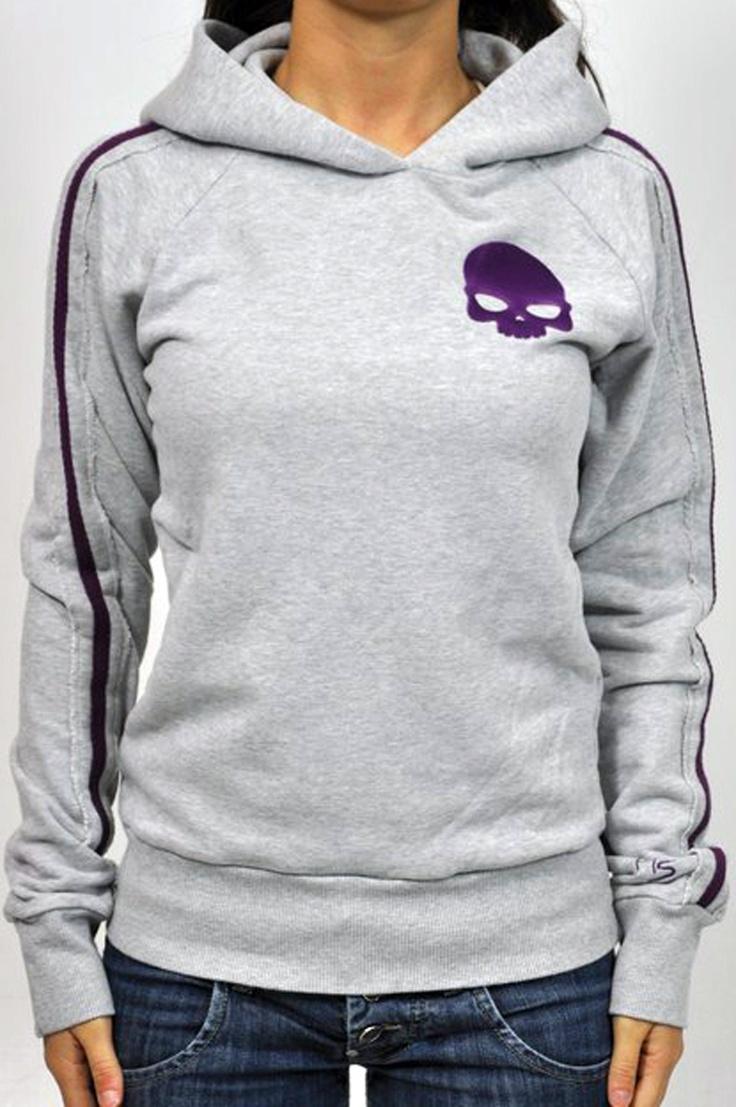Felpa Hydrogne in grigio, con bande laterali e disegno frontale in viola