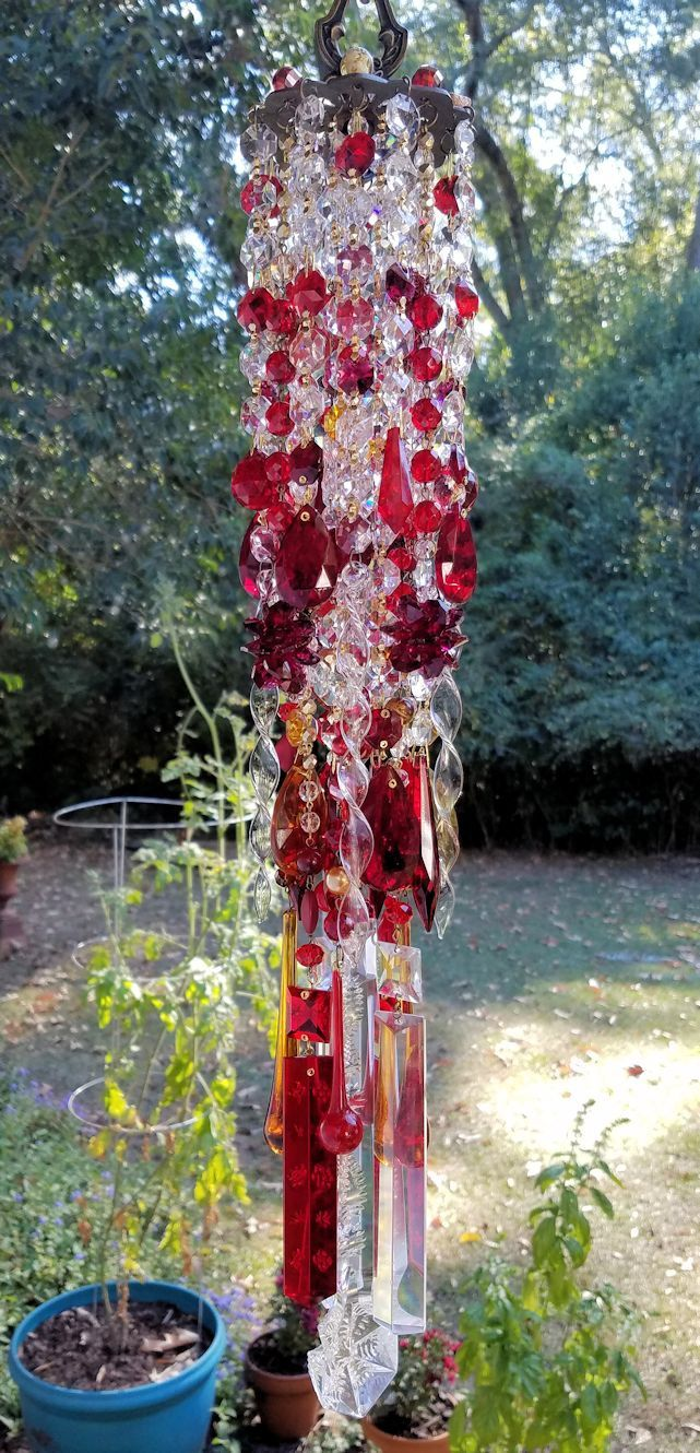 Ruby Antique Crystal Wind Chime, Radiant Red Crystal Wind Chime, Ruby and Gold Crystal, Garden Decoration, Window Decoration, Crystal Mobile by sheriscrystals on Etsy