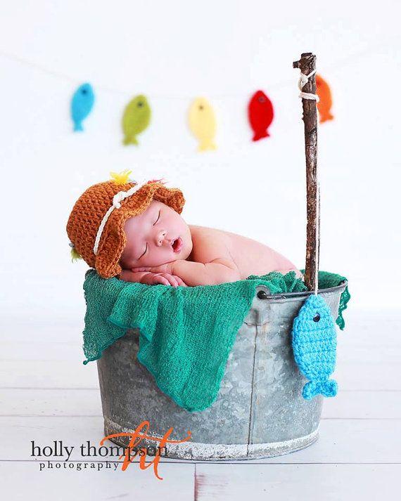 Gone Fishing Newborn Baby Boy Photo Prop Hat by CraftyKsCrochet