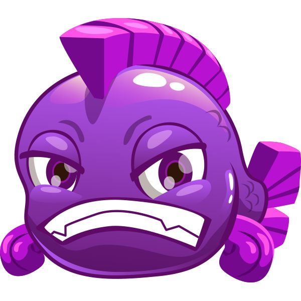 Purple Grouchy Fish Emoji