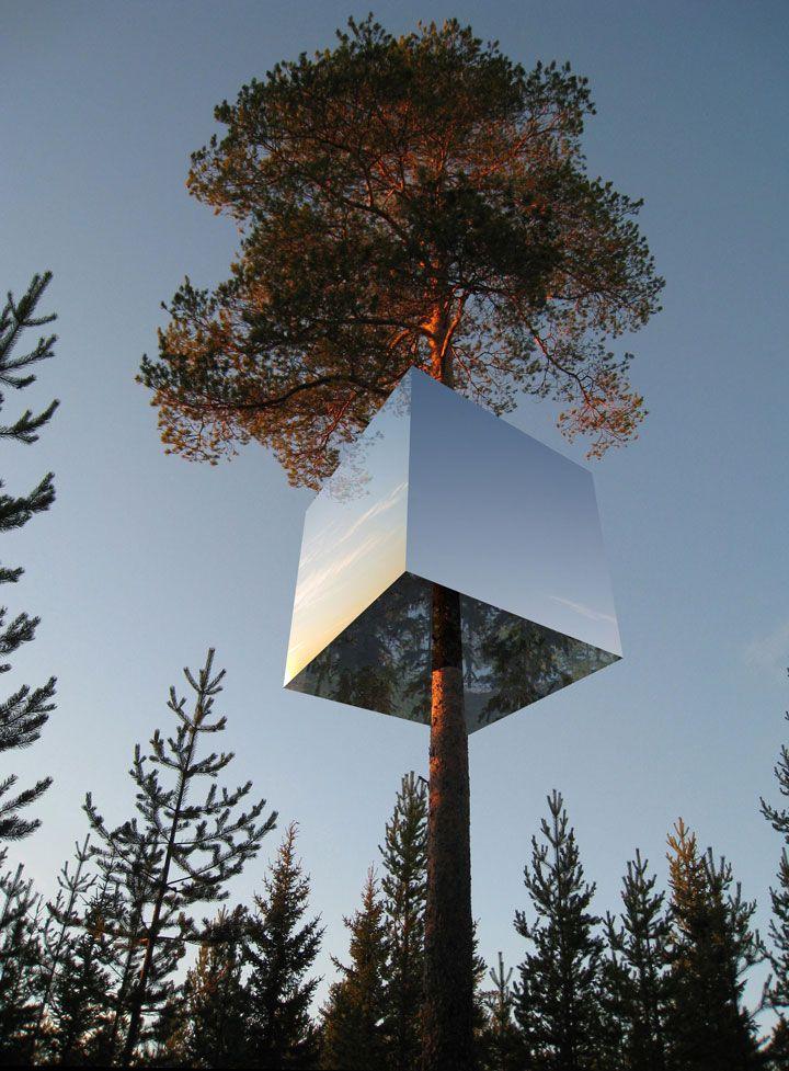 Cabane invisible : Les façades de cette cabane située dans un arbre sont recouverts de miroirs qui reflètent l'environnement dans lequel elle se trouve. Elle appartient à un établissement hôtelier suédois.