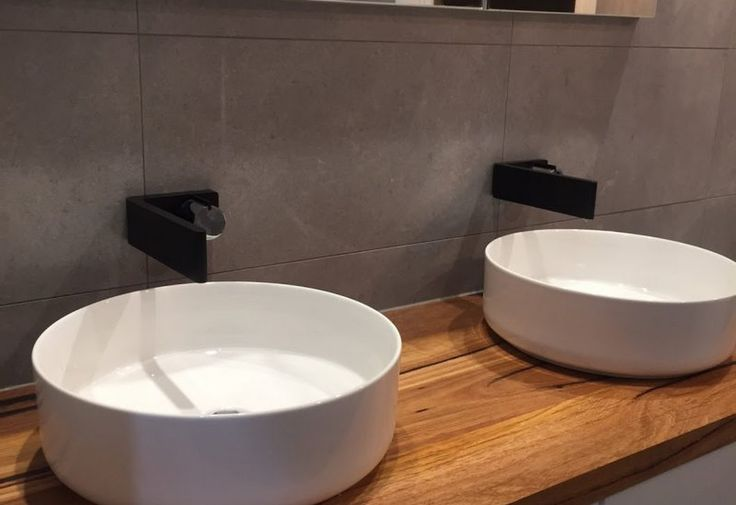 40mm thick double vanity top. We supply custom timber vanity tops and full timber vanity units for bathrooms and powder rooms. http://www.timberrevival.com.au  https://www.instagram.com/timberrevival/ - #timberrevival #recycledtimbermelbourne #messmate #timbervanity #bathroomreno #wemakeoldtimbernew