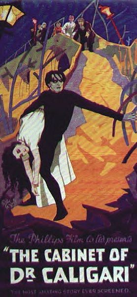 The Cabinet of Dr. Caligari (Germany, 1920). Directed by Robert Wiene. The mysterious Dr. Caligari arrives in a rural German village with his companion Cesare, a somnambulist - a man in an eternal state of sleep - who can be ordered to perform his master's commands. A series of gruesome murders lead some to believe that the doctor and his assistant may be to blame. A masterpiece of German Expressionism that utilised stylized sets, with abstract, jagged buildings painted on canvas backdrops.