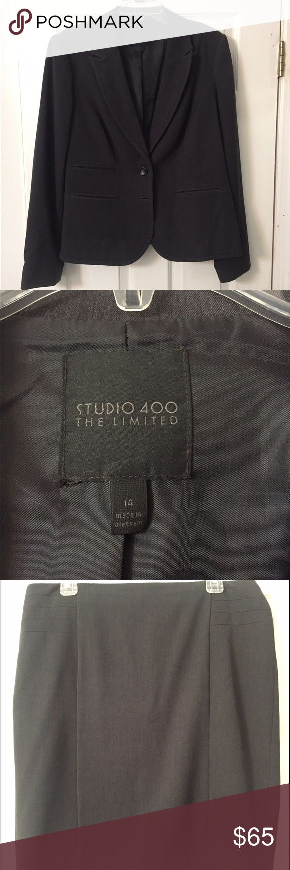The Limited Studio 400 Charcoal 3 piece suit For sale is a size 14 suit from the limited. Only worn a couple of times. Selling the jacket (Size 14) the pencil skirt (size 14) and a pair of boot cut pants (size 14L). All match, all bought together. Only worn for a couple of interviews. The Limited Other