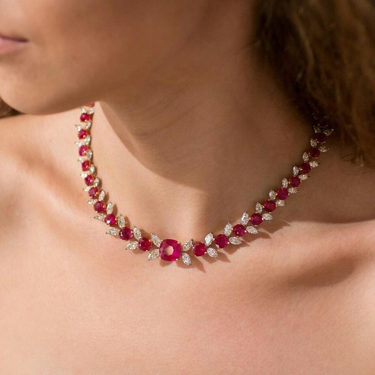 """Simplicity is the ultimate sophistication."" – Leonardo da Vinci. Faidee necklace with natural cushion cut Burmese Rubies and marquise cut diamonds."