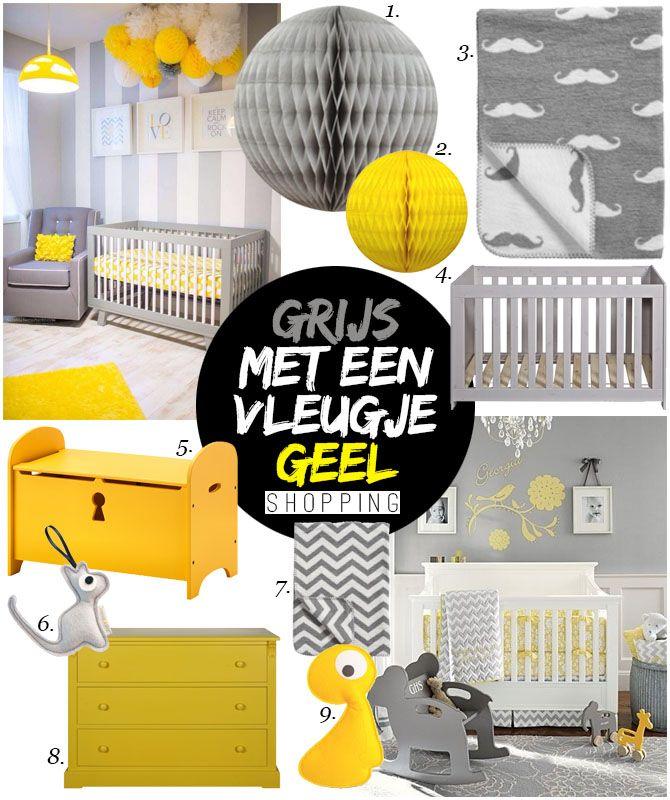 Grijs en geel tinten voor kinderkamer