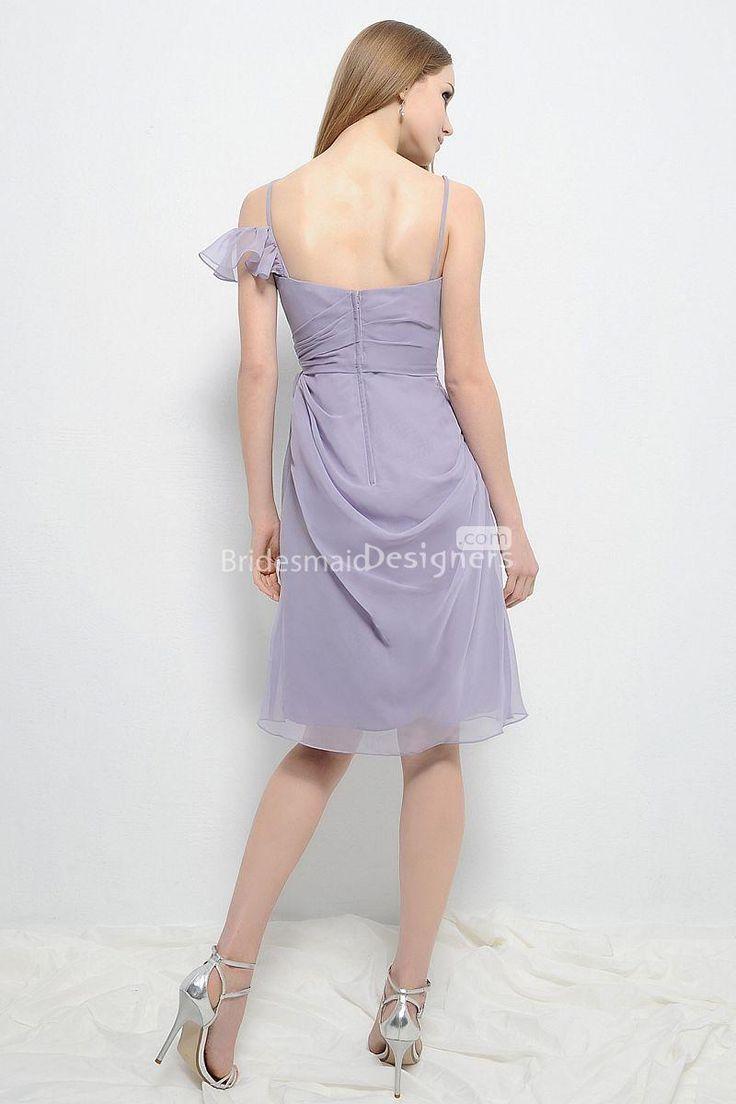 modest wisteria spaghetti strap sweetheart knee length sweetheart sheath ruched chiffon bridesmaid dress 3