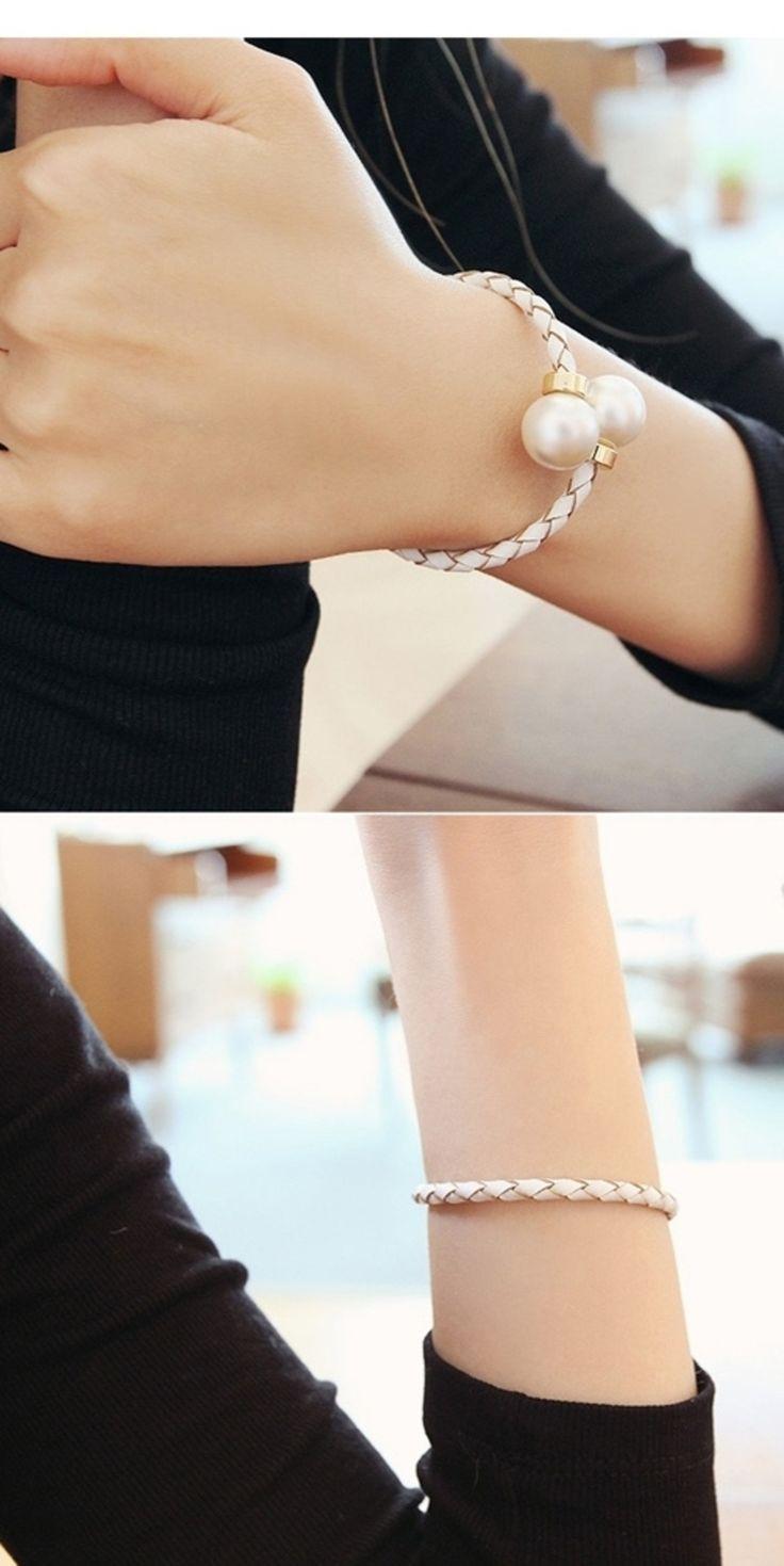 White twisted pearl bangle on TROVEA.COM