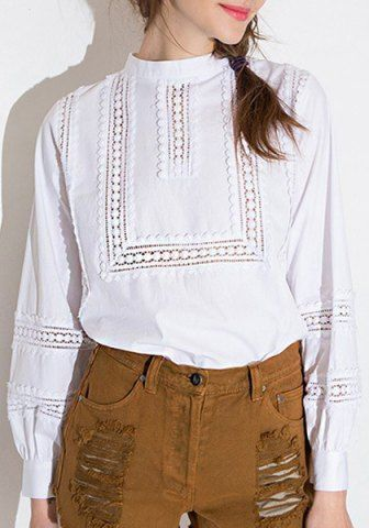 Stand Collar Lace Long Sleeve Blouse