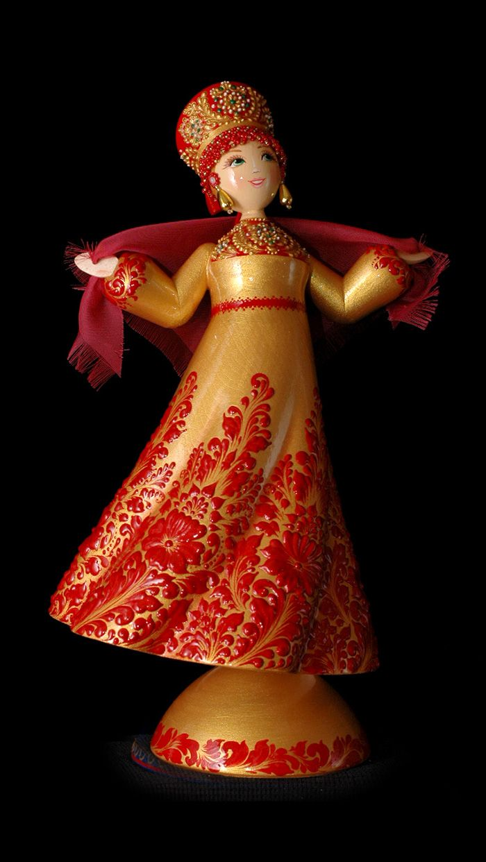 TVERSKOY UZOR - Russian Traditional Arts - Wooden Hand-Painted Dolls - Russian souvenirs