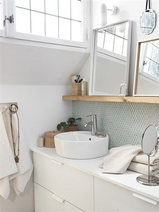 IKEA Modern design Combineer de ronde TÖRNVIKEN wastafel met het strakke ALDERN blad voor een moderne design uitstraling. Zet losse spiegels op een plank voor een speels effect