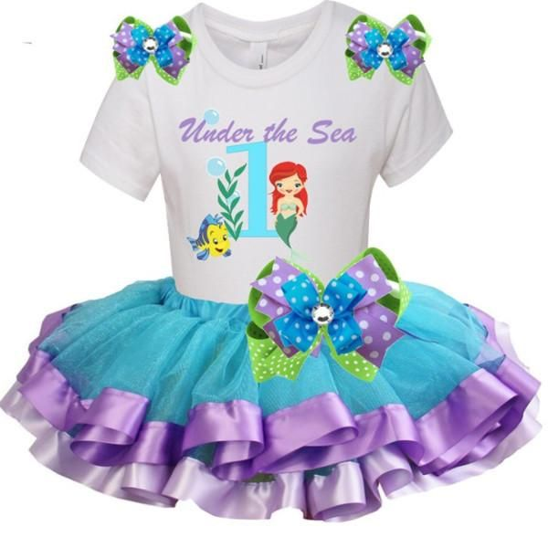 "Blue 1st Birthday Tutu Outfit ""MERMAID"" Edition Set"