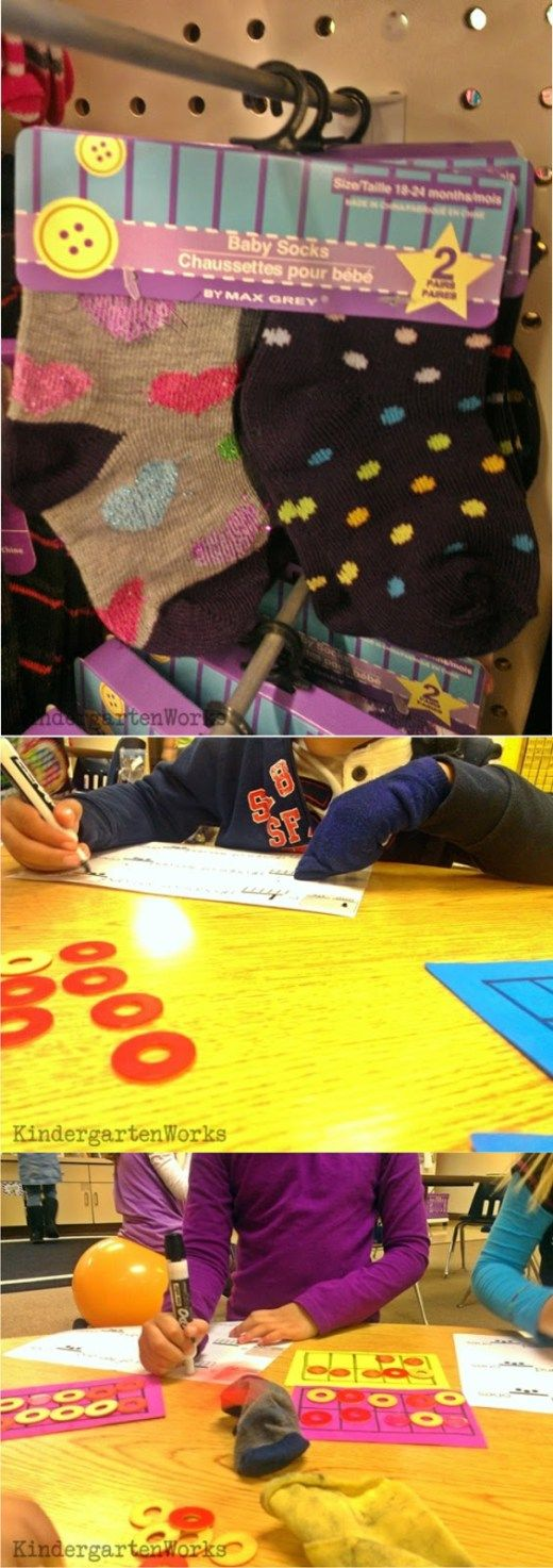Des chaussettes d'enfant à porter pendant. Chaque travail sur l'ardoise, afin d'éviter qu'ils n'effacent avec leurs doigts. Tellement ingénieux !