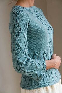 KNitting Pattern Name; CAble-Down Raglan Pattern by: Stefanie Japel Pattern Published In Interweave Knits Spring 2007